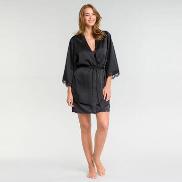 Kimono en satin et dentelle noir - Glamour, , DIM