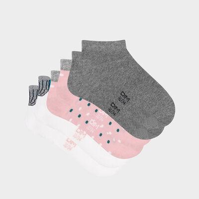 Pack de 3 pares de calcetines bajos para niña estampado concha rosa Coton Style, , DIM