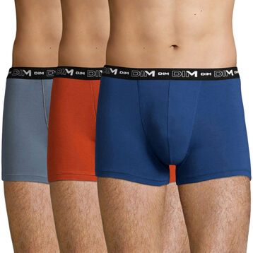 3 pack Stretch Cotton trunks in Mouse Grey, Earth and Eclipse Blue, , DIM