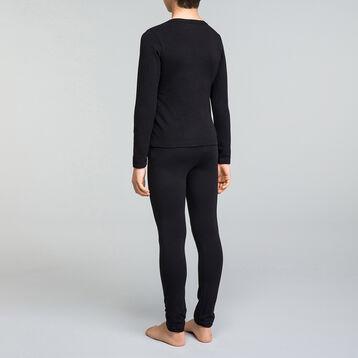 Tee-shirt manches longues noir garçon en coton col V - Dynamic, , DIM