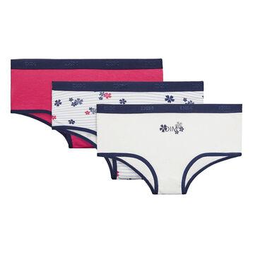 Lot de 3 shorties fille Matelot - Pocket Stripes, , DIM