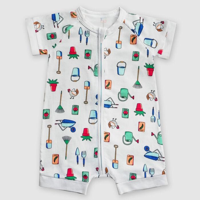Dim Baby White cotton stretch baby romper with zip and garden motifs, , DIM