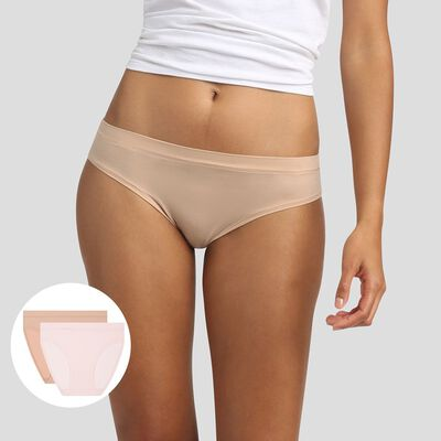 2 pack women's briefs in Nude Pink and Beige Body Move, , DIM