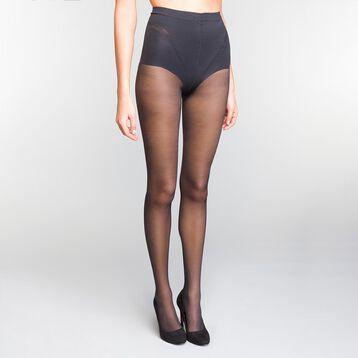 2 Pack Black tummy-flattening 25 tights - Diam's Ventre Plat, , DIM