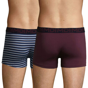 2 Pack cotton trunks in Purple Grape with Stripes Mix & Fancy, , DIM
