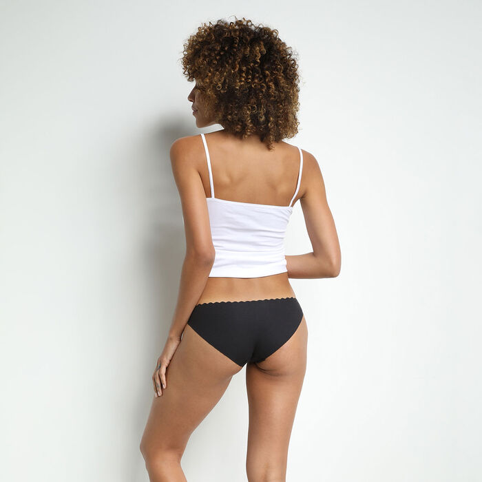 Pack of 2 pairs of Body Touch cotton bikini knickers in black and white, , DIM
