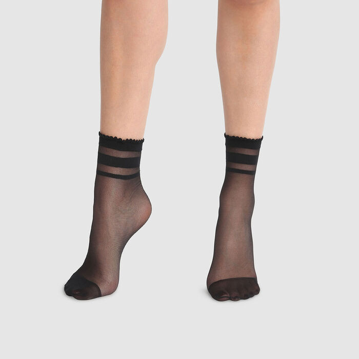 Dim Style 29D fancy black ankle socks with pinstripe print , , DIM