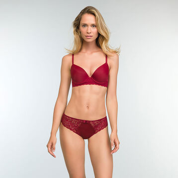 Sublim Lace Cherry Red Balconette Push up Bra, , DIM