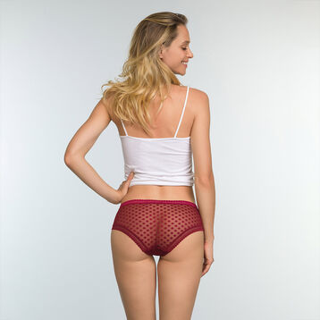 Shorty Rouge Cherry femme en tulle à pois Dotty Mesh Bar à Culottes, , DIM