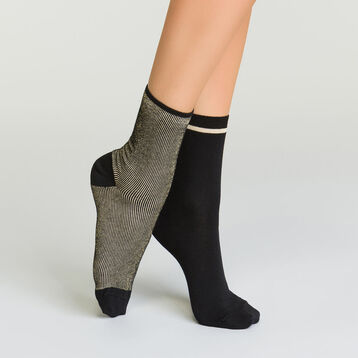 2 pack women's socks in cotton with striped lurex black and gold, , DIM