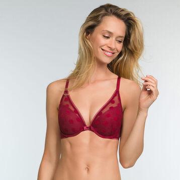 Cherry Red push up bra with polka dot print Dotty Line, , DIM