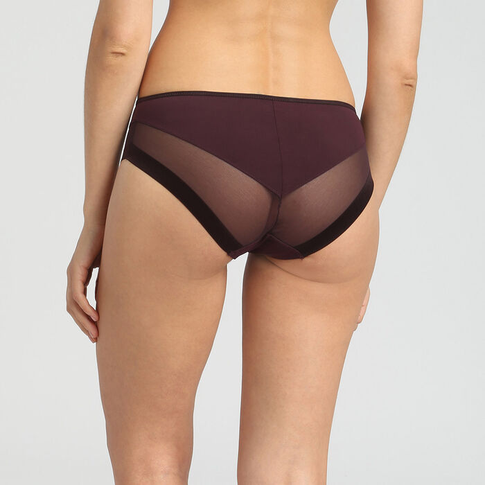 Dim Generous precious brown microfibre and tulle briefs, , DIM