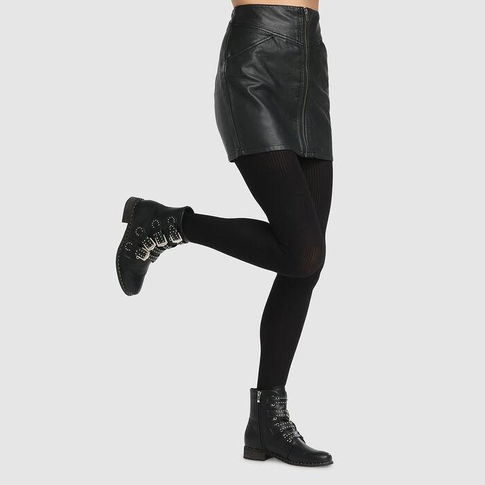 Dim Style 50D black ribbed fancy tights, , DIM