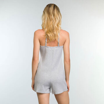 Mottled Grey romper in stretch cotton Casual Line, , DIM