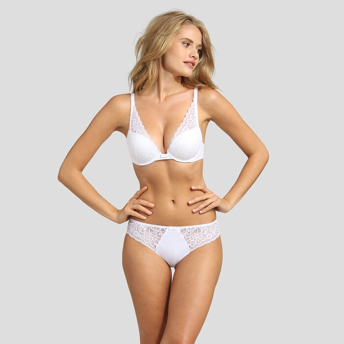 Soutien-gorge foulard push-up blanc Sublim Dentelle, , DIM