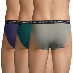 Lot de 3 slips gris, bleu et vert Coton Stretch-DIM