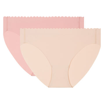 2 pack briefs porcelain pink and creamy beige Body Touch Microfiber, , DIM
