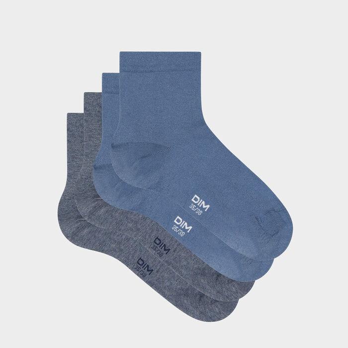 Pack of  2 pairs of Midnight Blue Women's Socks Denim Basic Cotton, , DIM