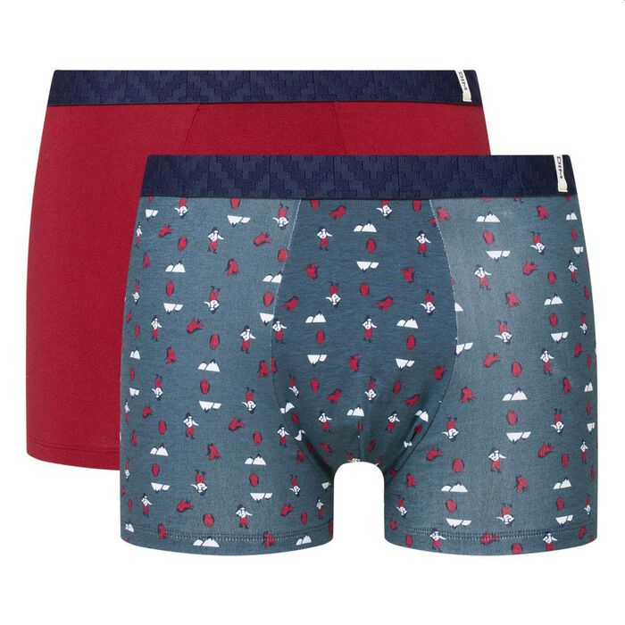 Dim Gift Pack pack of 2 stretch cotton trunks in red with mountain print, , DIM