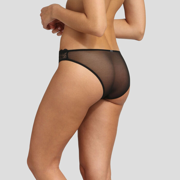 Dim Graphic Wedding black embroidery brief, , DIM
