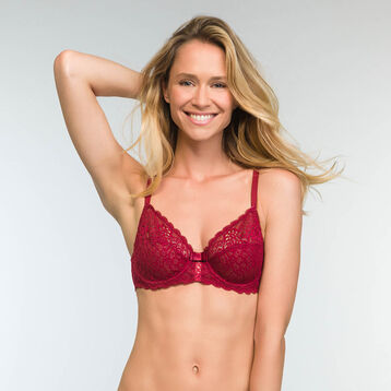 Cherry Red Full Cup Sublim Dentelle Bra, , DIM
