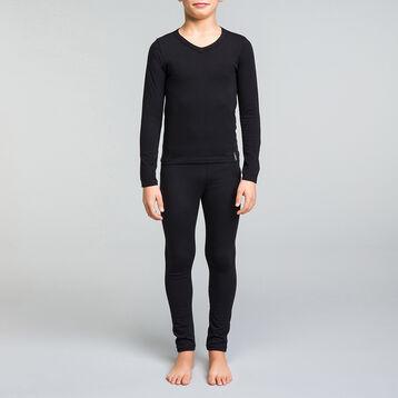 Long sleeves black t-shirt with V neckline for boy - Dynamic, , DIM