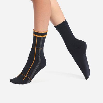 Pack of 2 Pairs of Women's Tartan Cotton Style Blue Mustard Socks, , DIM