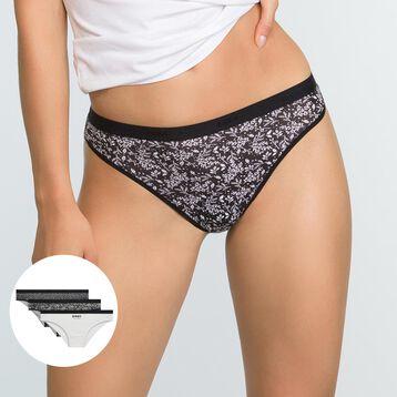 3 Pack  Les Pockets Black Winter Print Stretch Cotton Thongs, , DIM