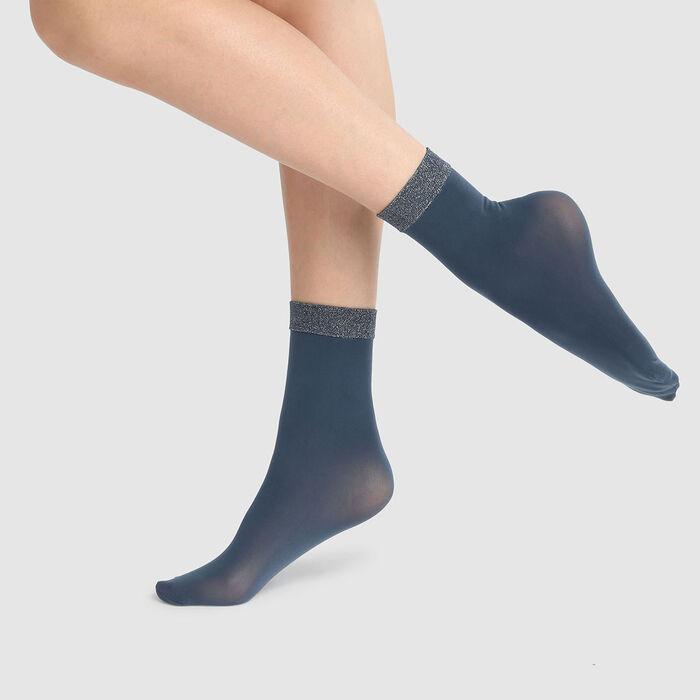 Socquettes fantaisie bleu pétrole pur bande lurex cheville Style 23D, , DIM