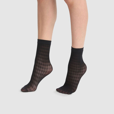 Dim Style 29D fancy black ankle socks with houndstooth print , , DIM