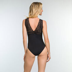 Sublim Dentelle Black Women's Lace and Microfiber Bodysuit, , DIM