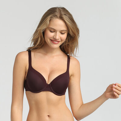 Generous Invisible precious brown padded balconette bra, , DIM
