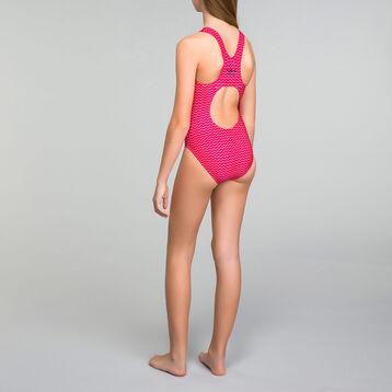 One piece pink swimsuit for Girl - Bain Aloha, , DIM
