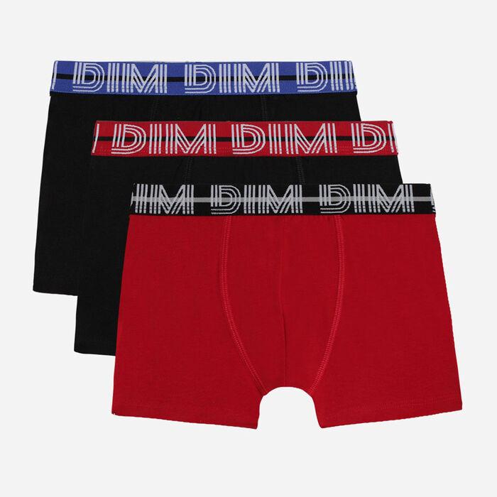 Lot de 3 boxers garçon noir et rouge - Coton Stretch , , DIM