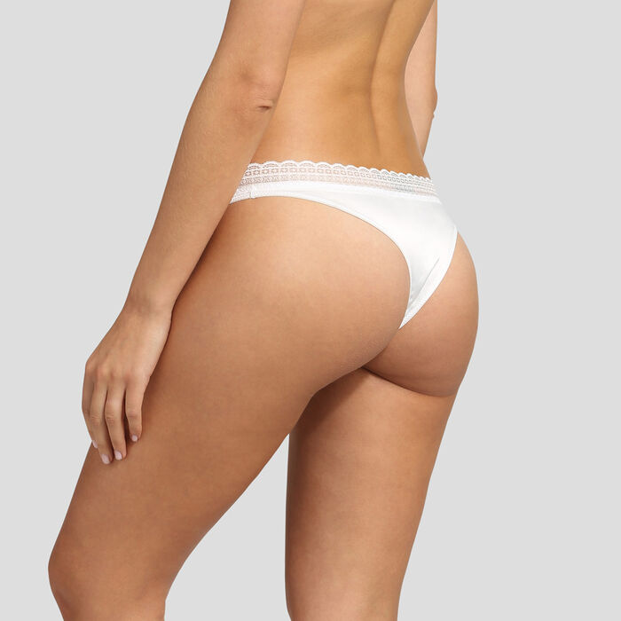Dim Satin Line satin and lace pearly white thong, , DIM