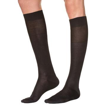Black lisle knee highs for men, , DIM