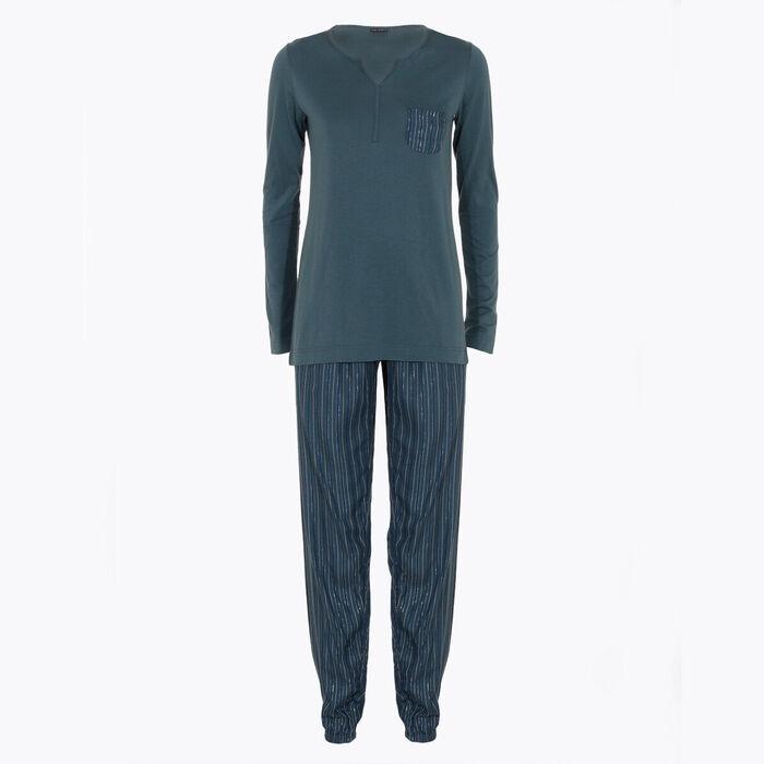 Women's green and iridescent stripes pyjama set, , DIM