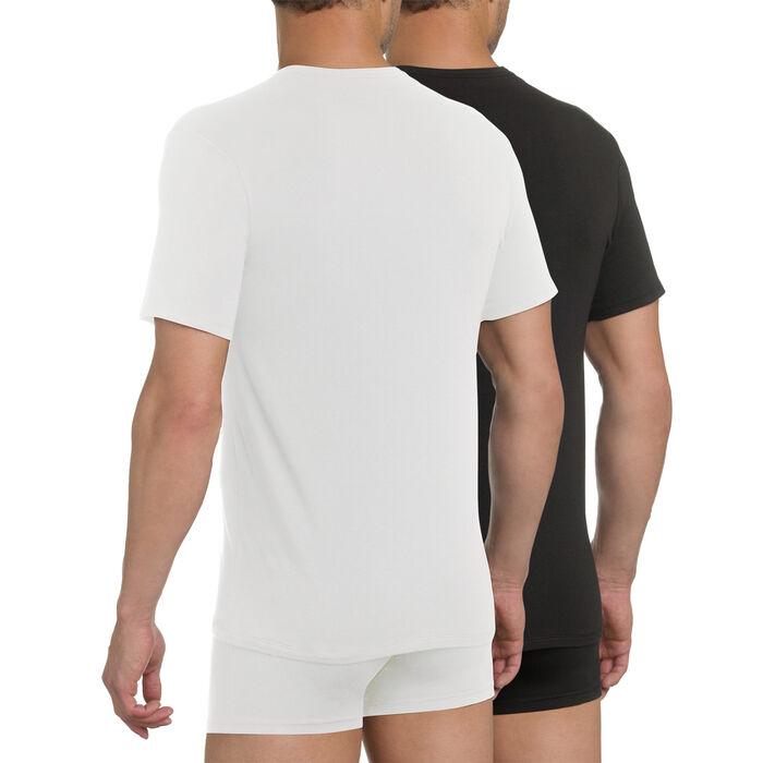 Pack of 2 white and black X-Temp V-neck T-shirts, , DIM