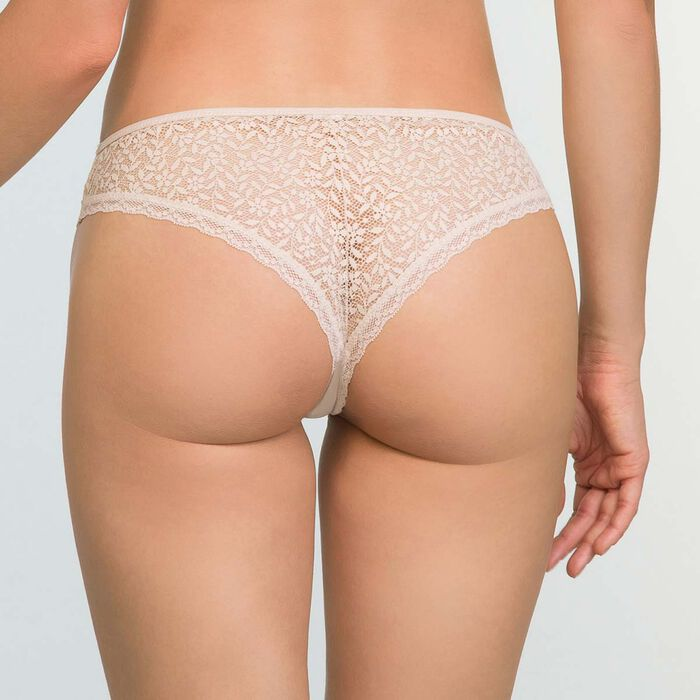 Women's Brazilian Tanga in Light Beige Daily Glam Trendy Sexy, , DIM