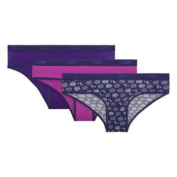 3 pack purple cotton briefs - Box Japon, , DIM