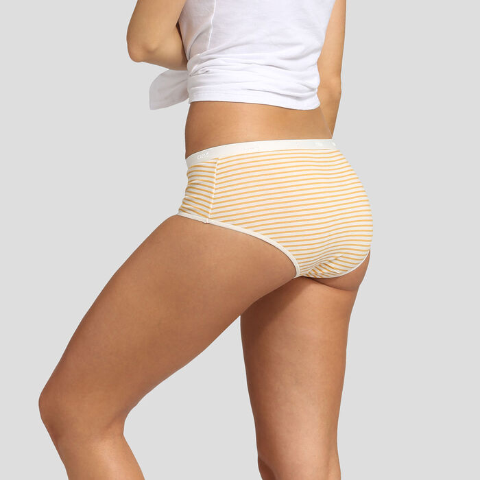 5 pack shorties with retro stripes print Dim Les Pockets Stretch Cotton, , DIM