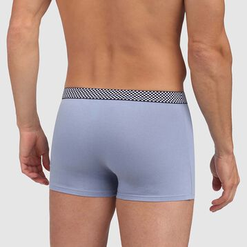 Mix and Print stretch cotton trunks in ice blue with checked waistband, , DIM