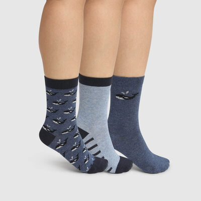 Pack of 3 pairs of Blue Kids Cotton Style Whale Socks, , DIM