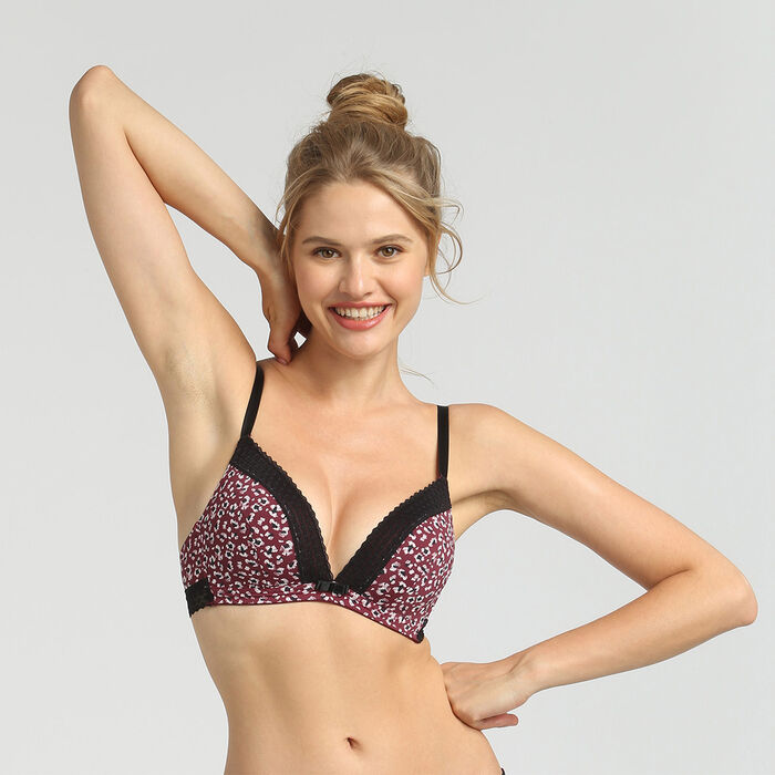 Dim Trendy Micro wild print wireless padded triangle bra, , DIM