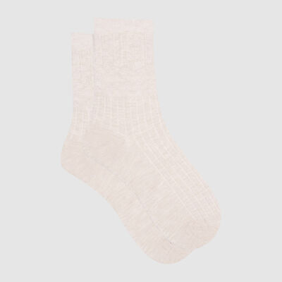 Dim Laine women's warm textured wool socks Ivory , , DIM