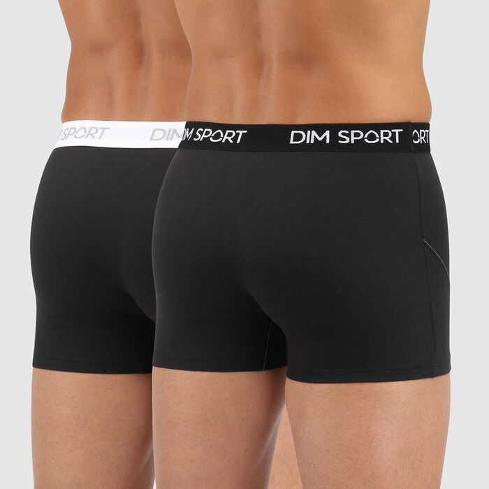 Dim Sport men's antiperspirant microfibre trunks in black and white, , DIM