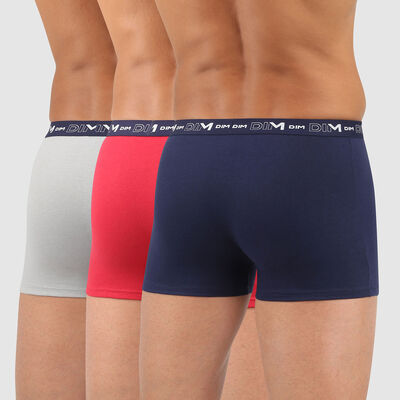 Cotton Stretch pack of 3 men's trunks in denim blue topaz red and steel grey, , DIM
