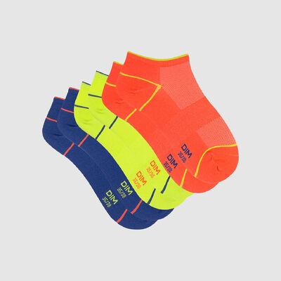 Dim Sport pack of 3 pairs of women's short socks X Temp Fluorescent, , DIM