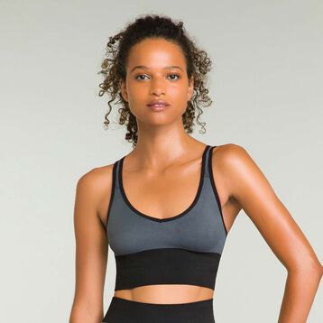 Seamless women's bra Dark Grey Dim Sport, , DIM