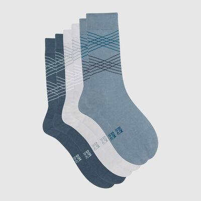 Набор 3шт.: Мужские носки из шотландки в сером и синем цвете Cotton Style, , DIM